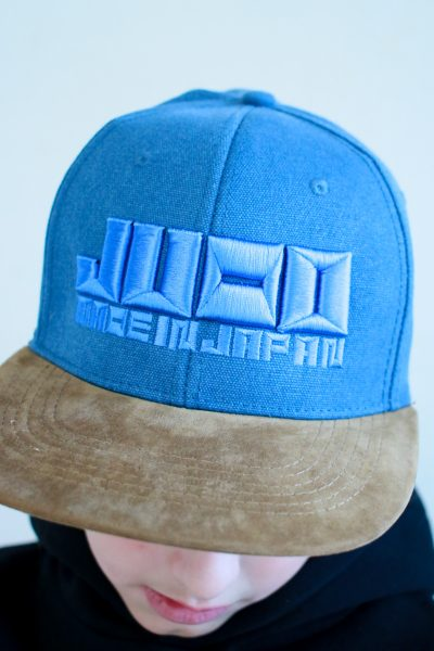 "Cap ""JUDO – MADE IN JAPAN"" in Blau – Wildlederoptik"